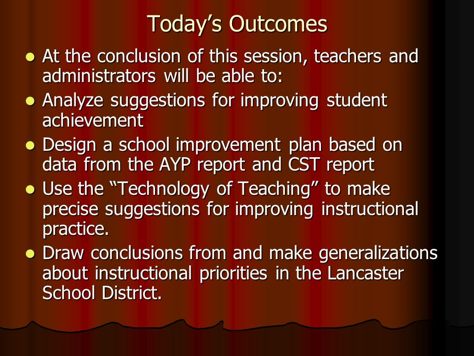 Todays Outcomes At the conclusion of this session, teachers and administrators will be able to: At the conclusion of this session, teachers and admini