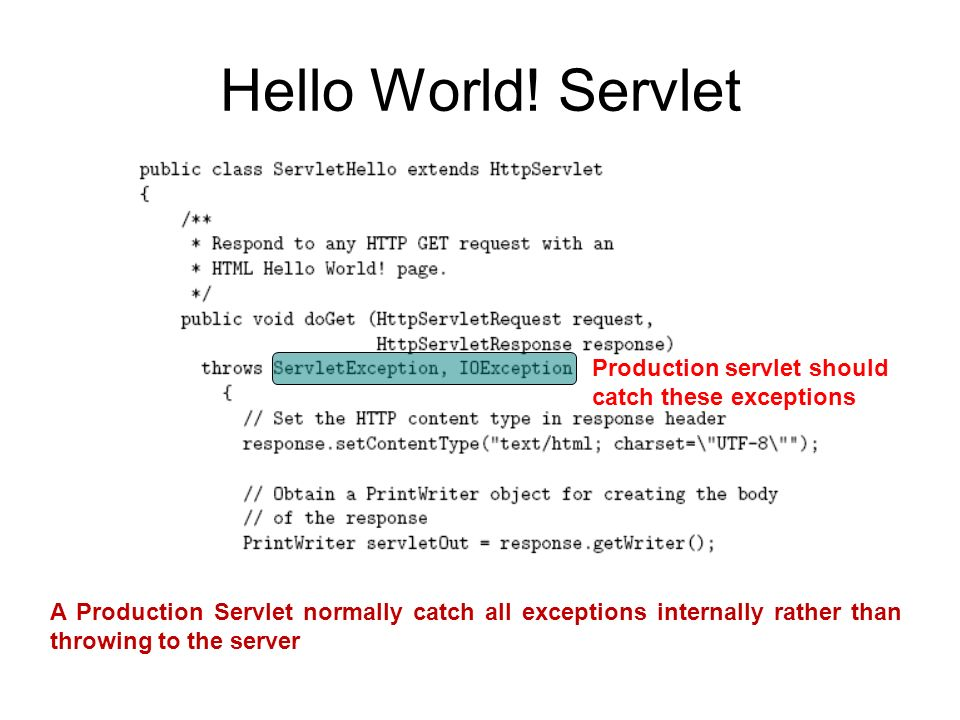 Hello World! Servlet Production servlet should catch these exceptions A Production Servlet normally catch all exceptions internally rather than throwi