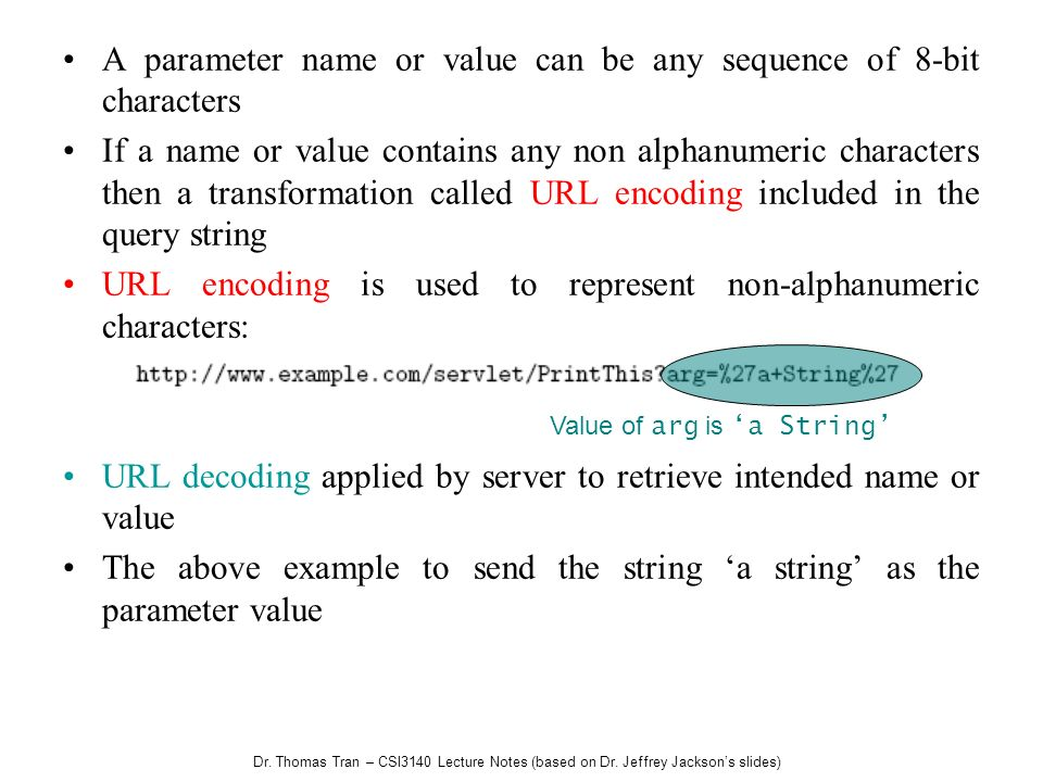 Dr. Thomas Tran – CSI3140 Lecture Notes (based on Dr. Jeffrey Jacksons slides) A parameter name or value can be any sequence of 8-bit characters If a