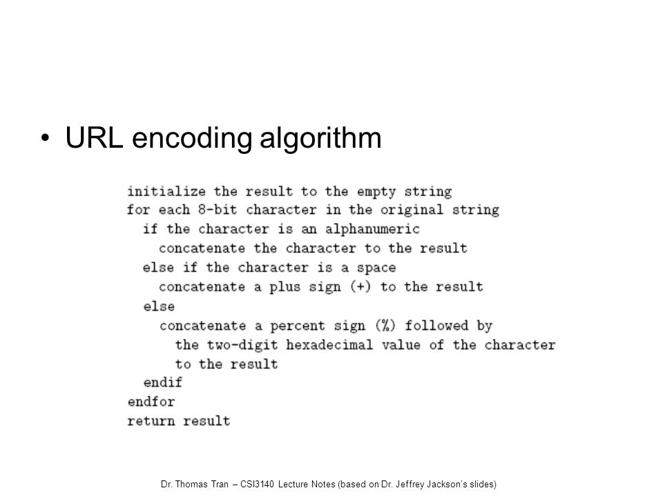 Dr. Thomas Tran – CSI3140 Lecture Notes (based on Dr. Jeffrey Jacksons slides) URL encoding algorithm