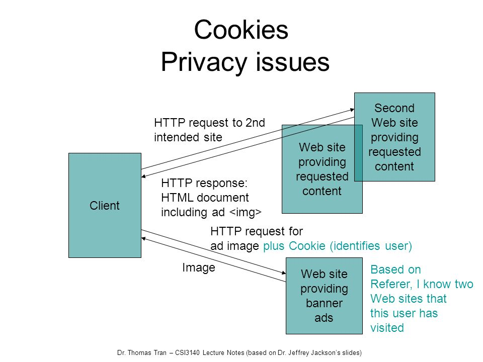 Dr. Thomas Tran – CSI3140 Lecture Notes (based on Dr. Jeffrey Jacksons slides) Web site providing requested content Cookies Privacy issues Client Seco