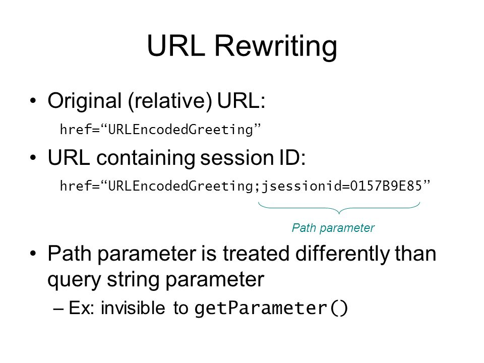 URL Rewriting Original (relative) URL: href=URLEncodedGreeting URL containing session ID: href=URLEncodedGreeting;jsessionid=0157B9E85 Path parameter