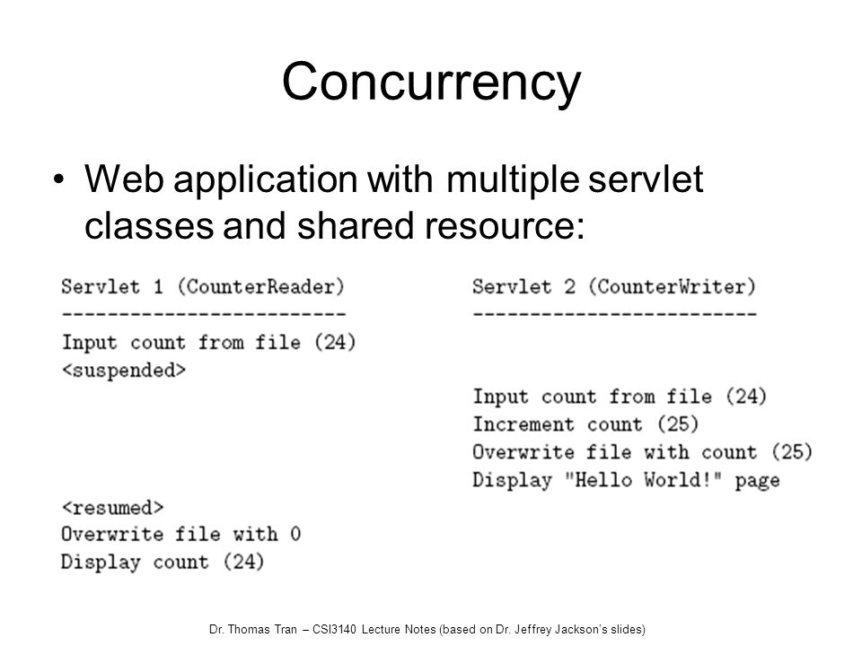 Dr. Thomas Tran – CSI3140 Lecture Notes (based on Dr. Jeffrey Jacksons slides) Concurrency Web application with multiple servlet classes and shared re