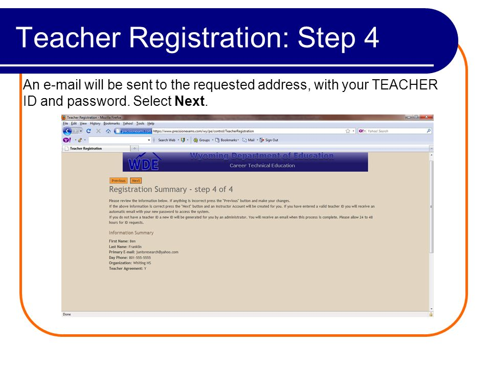 Teacher Registration: Complete Registration Complete! Select, Instructor Login