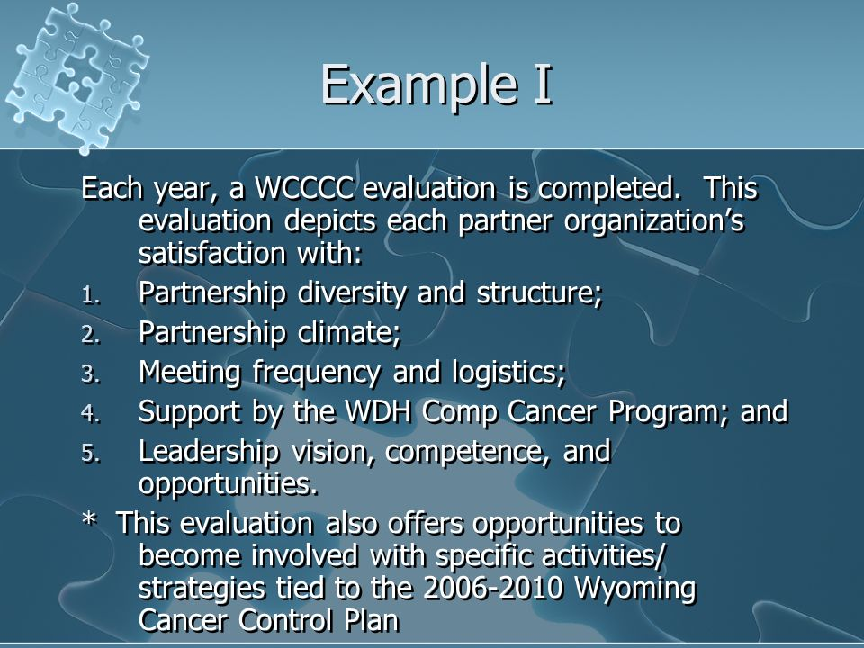 Example I Each year, a WCCCC evaluation is completed.