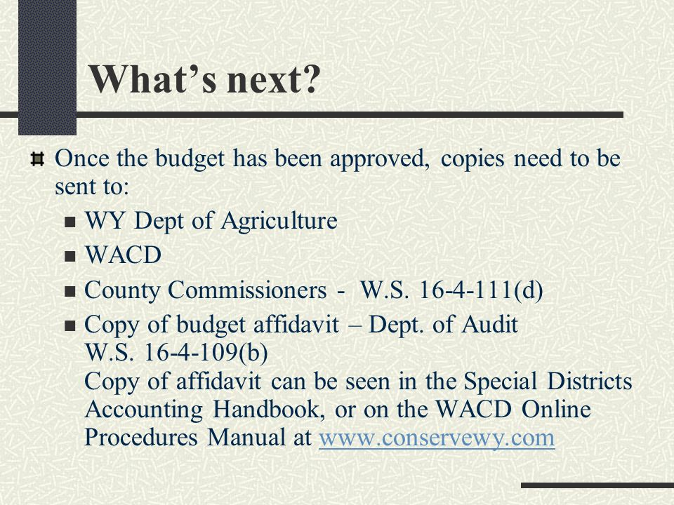 Timeline (cont.) Once the budget is approved, the treasurer needs to sign it. Make sure the budget has been sent to the County Commissioners by July 3