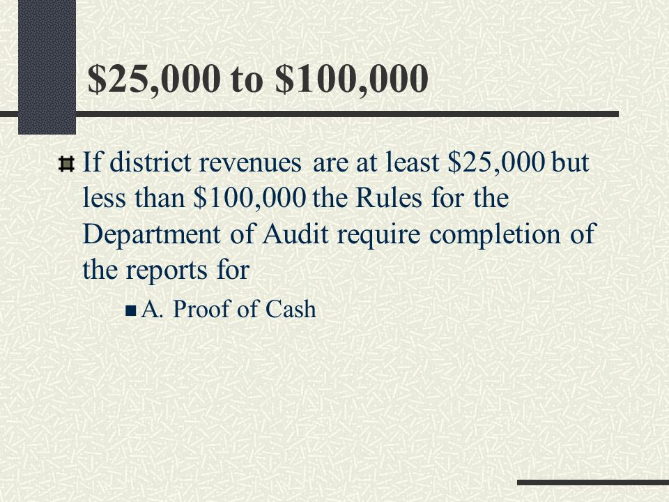 Under $25,000 If district revenues are under $25,000 the Rules for the Department of Audit require completion of an annual report of District revenues, expenses and ending cash balance