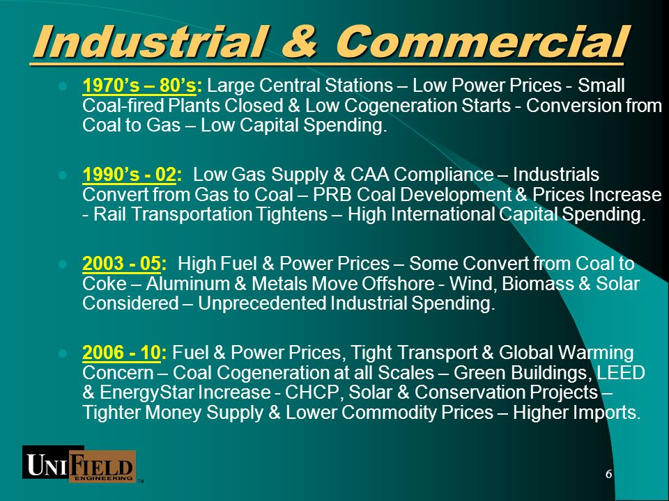 6 Industrial & Commercial 1970s – 80s: Large Central Stations – Low Power Prices - Small Coal-fired Plants Closed & Low Cogeneration Starts - Conversion from Coal to Gas – Low Capital Spending.