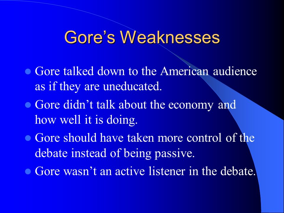 Gores Strengths. Stated his priorities right away…education is #1.