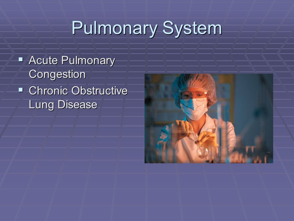 Pulmonary System Acute Pulmonary Congestion Acute Pulmonary Congestion Chronic Obstructive Lung Disease Chronic Obstructive Lung Disease