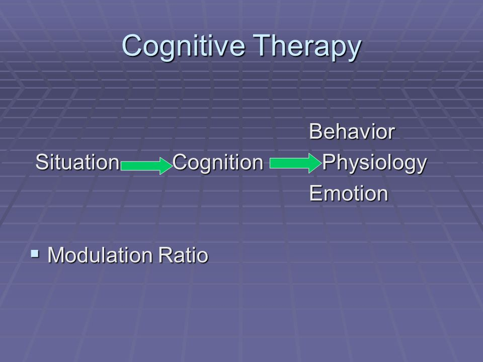 Cognitive Therapy Behavior Behavior Situation Cognition Physiology Situation Cognition Physiology Emotion Emotion Modulation Ratio Modulation Ratio