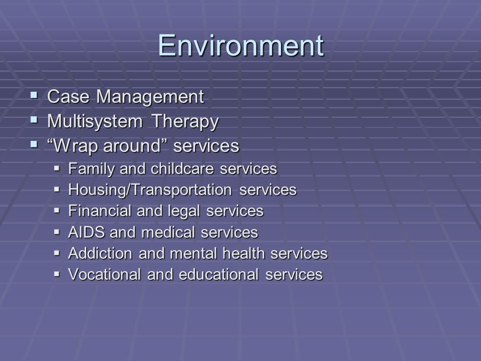 Environment Case Management Case Management Multisystem Therapy Multisystem Therapy Wrap around services Wrap around services Family and childcare ser