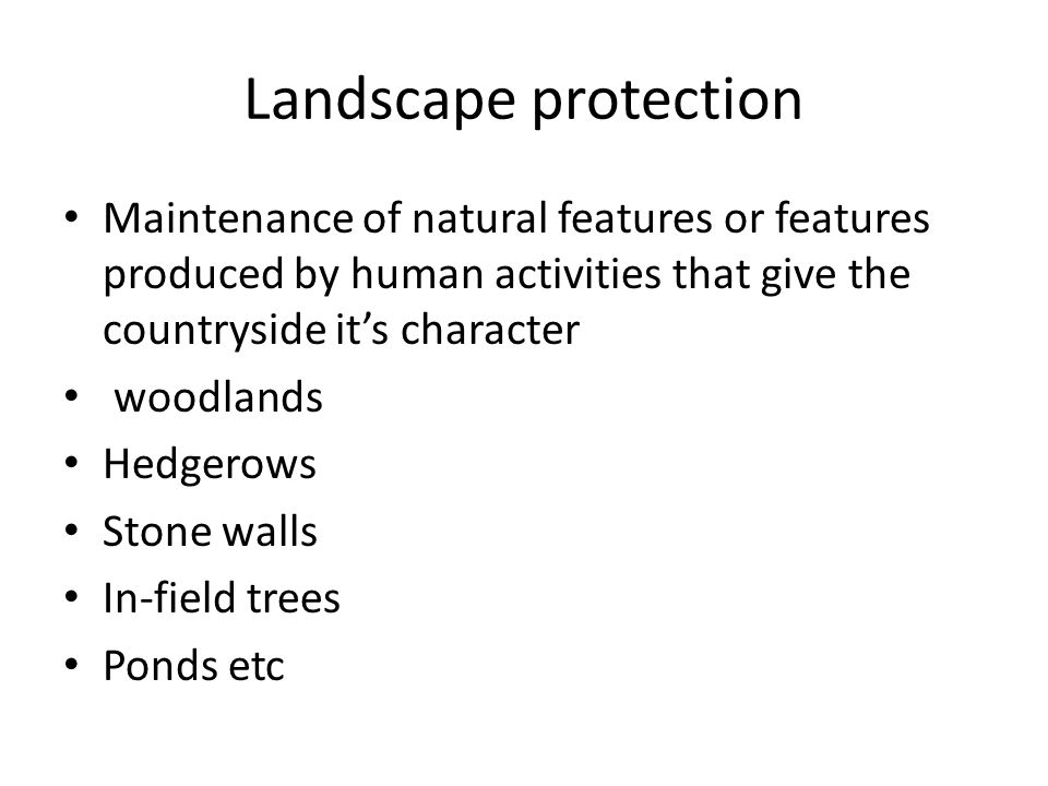 Landscape protection Maintenance of natural features or features produced by human activities that give the countryside its character woodlands Hedgerows Stone walls In-field trees Ponds etc