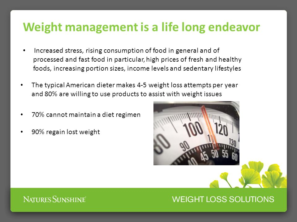 Weight management is a life long endeavor Body composition changes with age Age: Bodyweight (lbs.) Muscle (lbs.) Fat (lbs.) Percent Fat (%) 20 126 45 29 23 30 136 40 44 32 40 146 35 59 40 50 156 30 74 47