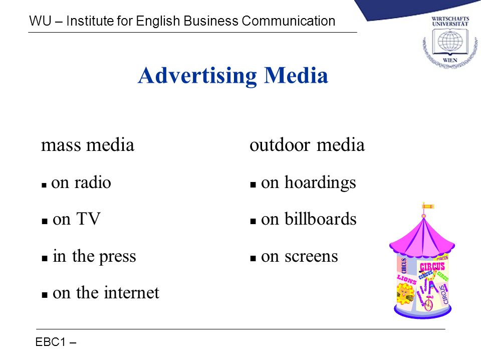 EBC1 – WU – Institute for English Business Communication Advertising Media mass media n on radio n on TV n in the press n on the internet outdoor medi
