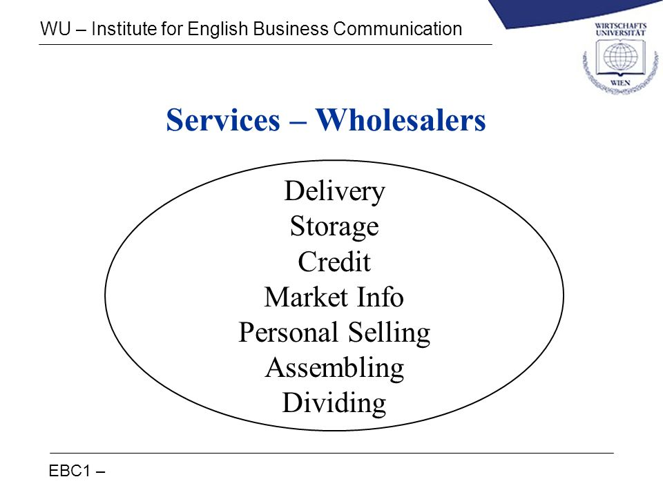 EBC1 – WU – Institute for English Business Communication Services – Wholesalers Delivery Storage Credit Market Info Personal Selling Assembling Dividi