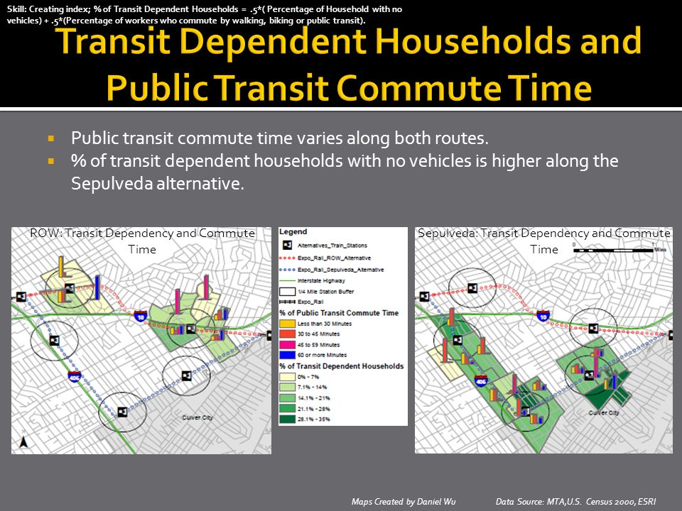 Maps Created by Daniel Wu Data Source: MTA,U.S. Census 2000, ESRI Public transit commute time varies along both routes. % of transit dependent househo