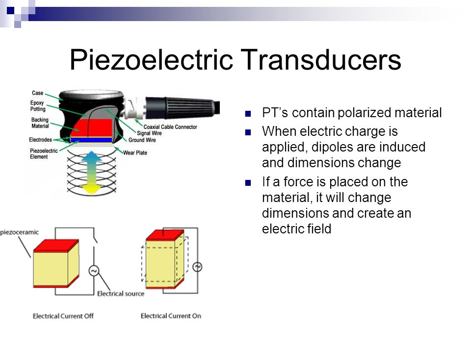 Piezoelectric Transducers PTs contain polarized material When electric charge is applied, dipoles are induced and dimensions change If a force is plac