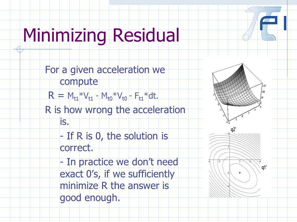 Minimizing Residual For a given acceleration we compute R = M t1 *V t1 - M t0 *V t0 - F t1 *dt.