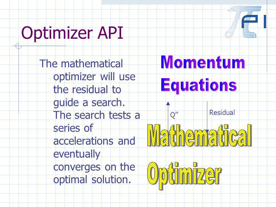 Optimizer API The mathematical optimizer will use the residual to guide a search.