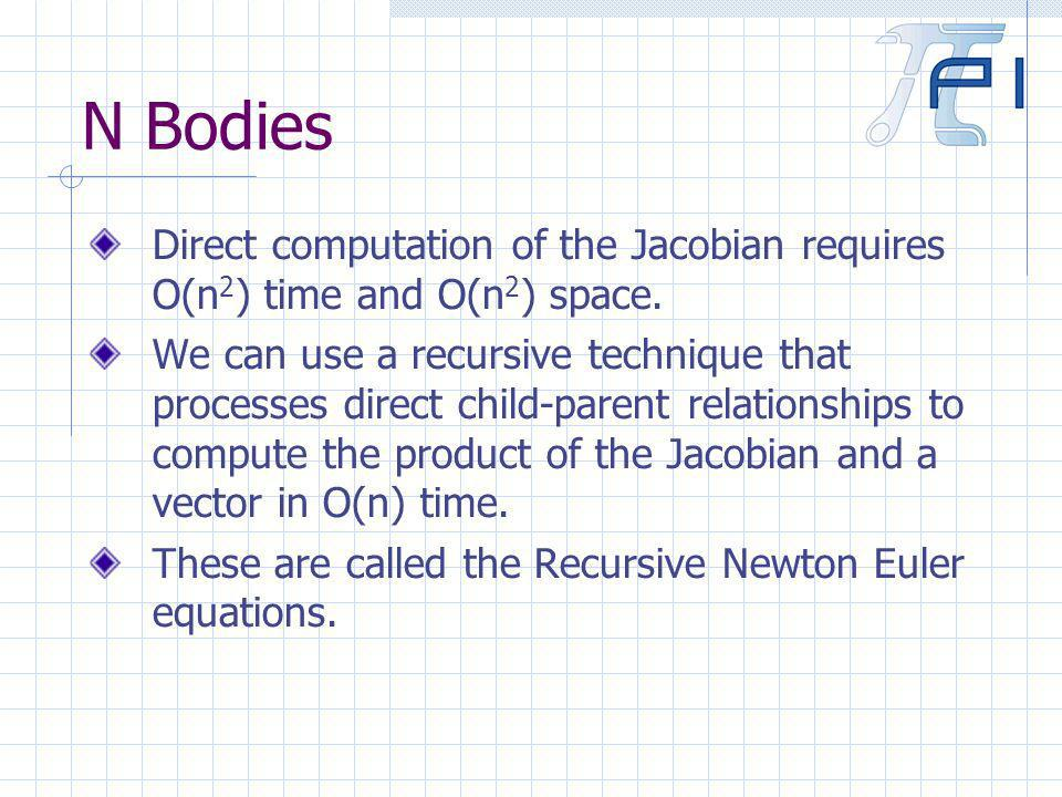 N Bodies Direct computation of the Jacobian requires O(n 2 ) time and O(n 2 ) space.
