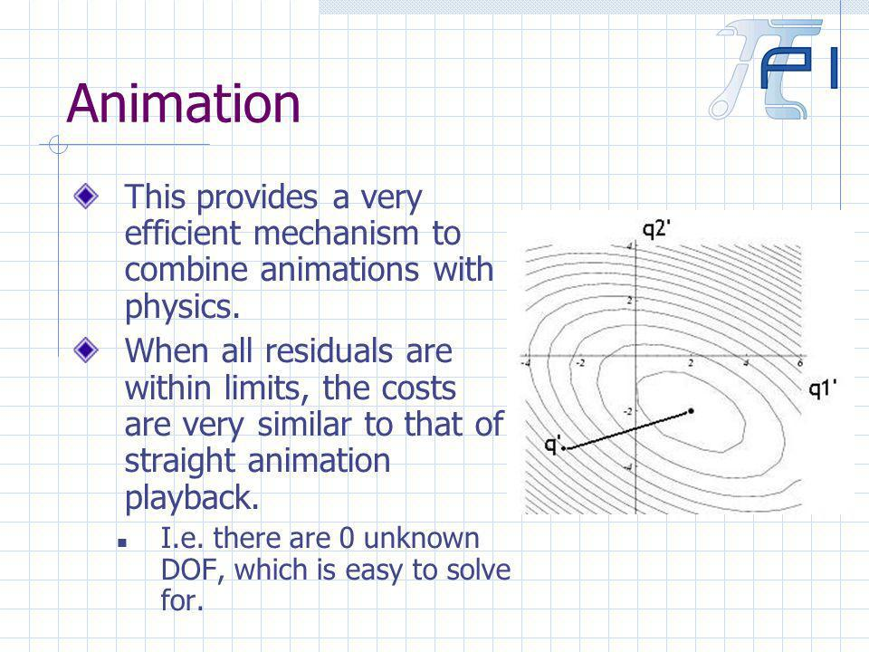 Animation This provides a very efficient mechanism to combine animations with physics.