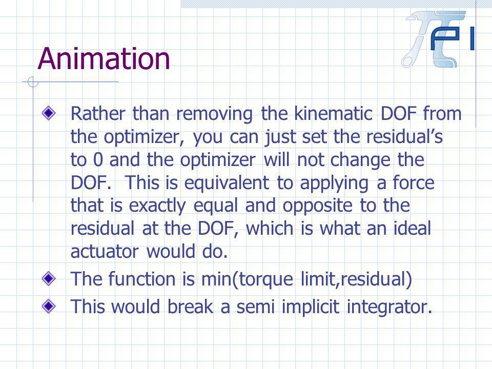 Animation Rather than removing the kinematic DOF from the optimizer, you can just set the residuals to 0 and the optimizer will not change the DOF.