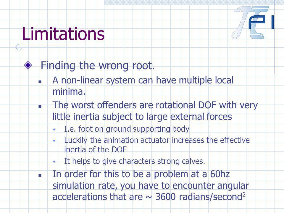 Limitations Finding the wrong root. A non-linear system can have multiple local minima.