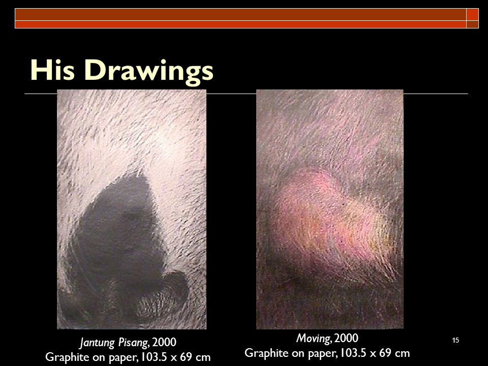 15 His Drawings Jantung Pisang, 2000 Graphite on paper, 103.5 x 69 cm Moving, 2000 Graphite on paper, 103.5 x 69 cm