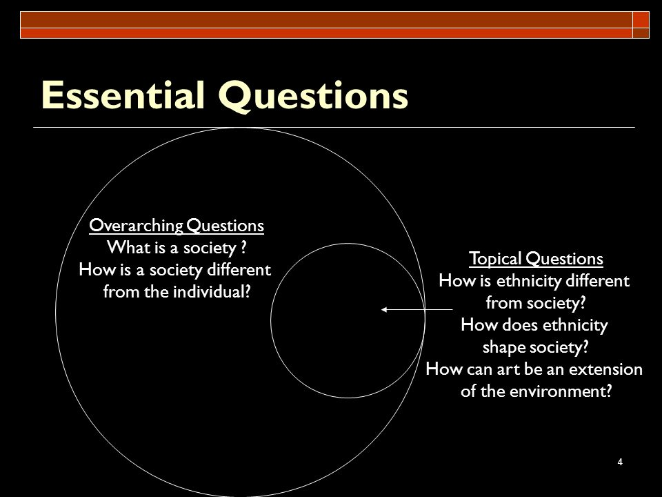 4 Essential Questions Overarching Questions What is a society ? How is a society different from the individual? Topical Questions How is ethnicity dif