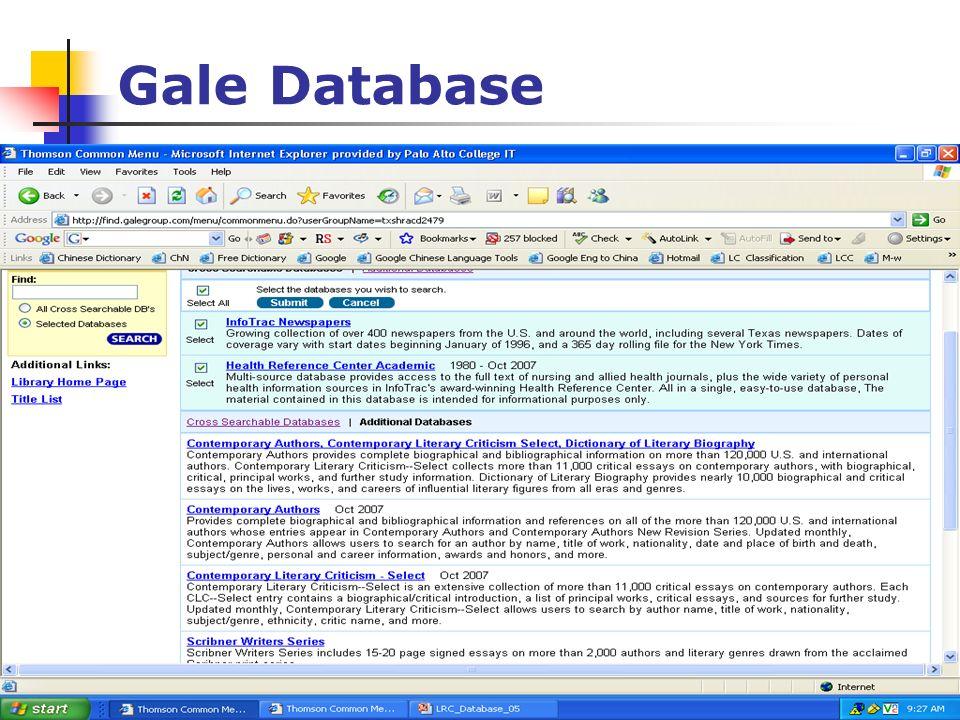 18 Gale Database