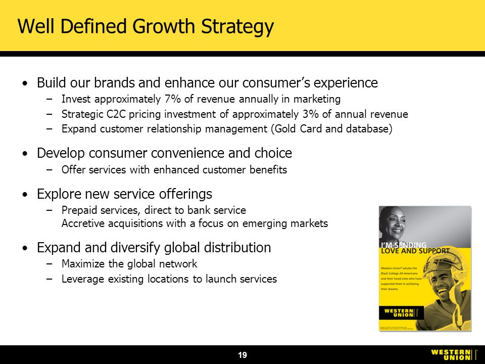 19 Well Defined Growth Strategy Build our brands and enhance our consumers experience –Invest approximately 7% of revenue annually in marketing –Strategic C2C pricing investment of approximately 3% of annual revenue –Expand customer relationship management (Gold Card and database) Develop consumer convenience and choice –Offer services with enhanced customer benefits Explore new service offerings –Prepaid services, direct to bank service Accretive acquisitions with a focus on emerging markets Expand and diversify global distribution –Maximize the global network –Leverage existing locations to launch services