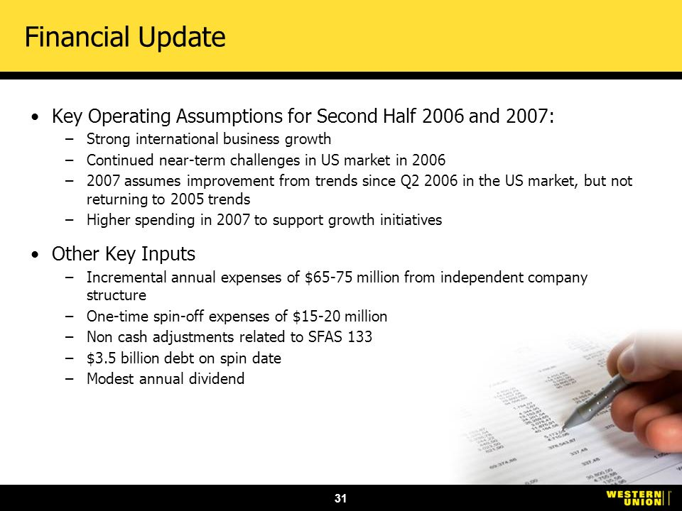 31 Financial Update Key Operating Assumptions for Second Half 2006 and 2007: –Strong international business growth –Continued near-term challenges in US market in 2006 –2007 assumes improvement from trends since Q2 2006 in the US market, but not returning to 2005 trends –Higher spending in 2007 to support growth initiatives Other Key Inputs –Incremental annual expenses of $65-75 million from independent company structure –One-time spin-off expenses of $15-20 million –Non cash adjustments related to SFAS 133 –$3.5 billion debt on spin date –Modest annual dividend