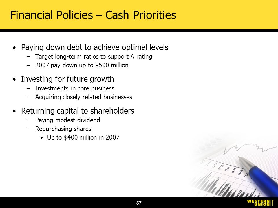 37 Financial Policies – Cash Priorities Paying down debt to achieve optimal levels –Target long-term ratios to support A rating –2007 pay down up to $500 million Investing for future growth –Investments in core business –Acquiring closely related businesses Returning capital to shareholders –Paying modest dividend –Repurchasing shares Up to $400 million in 2007