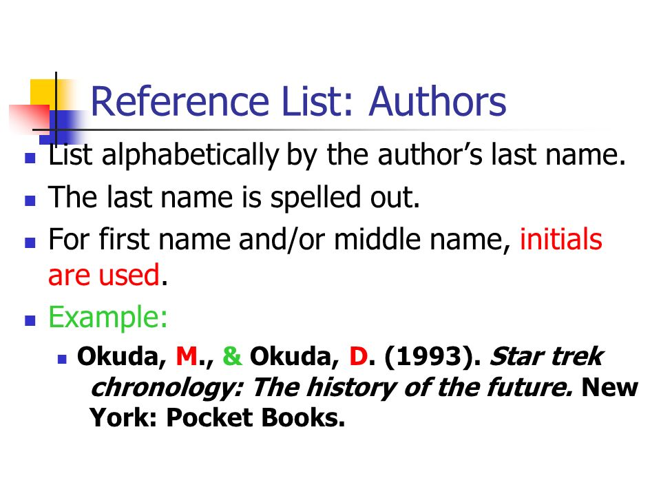 Reference List: Authors List alphabetically by the authors last name. The last name is spelled out. For first name and/or middle name, initials are us