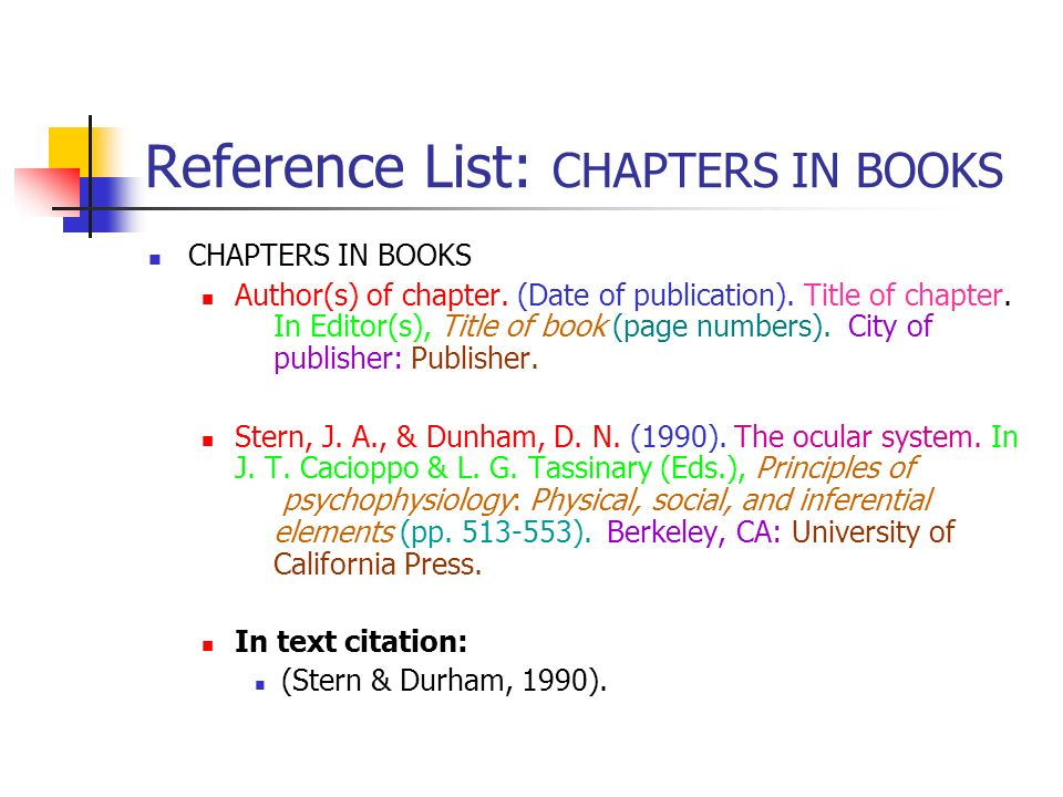 Reference List: CHAPTERS IN BOOKS CHAPTERS IN BOOKS Author(s) of chapter. (Date of publication). Title of chapter. In Editor(s), Title of book (page n
