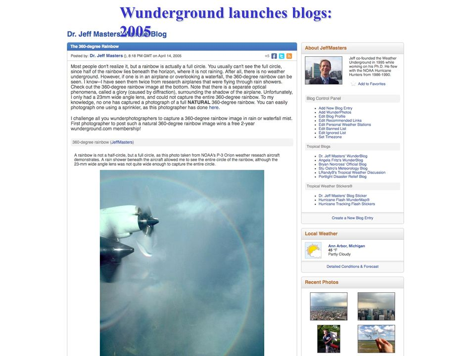Wunderground launches blogs: 2005