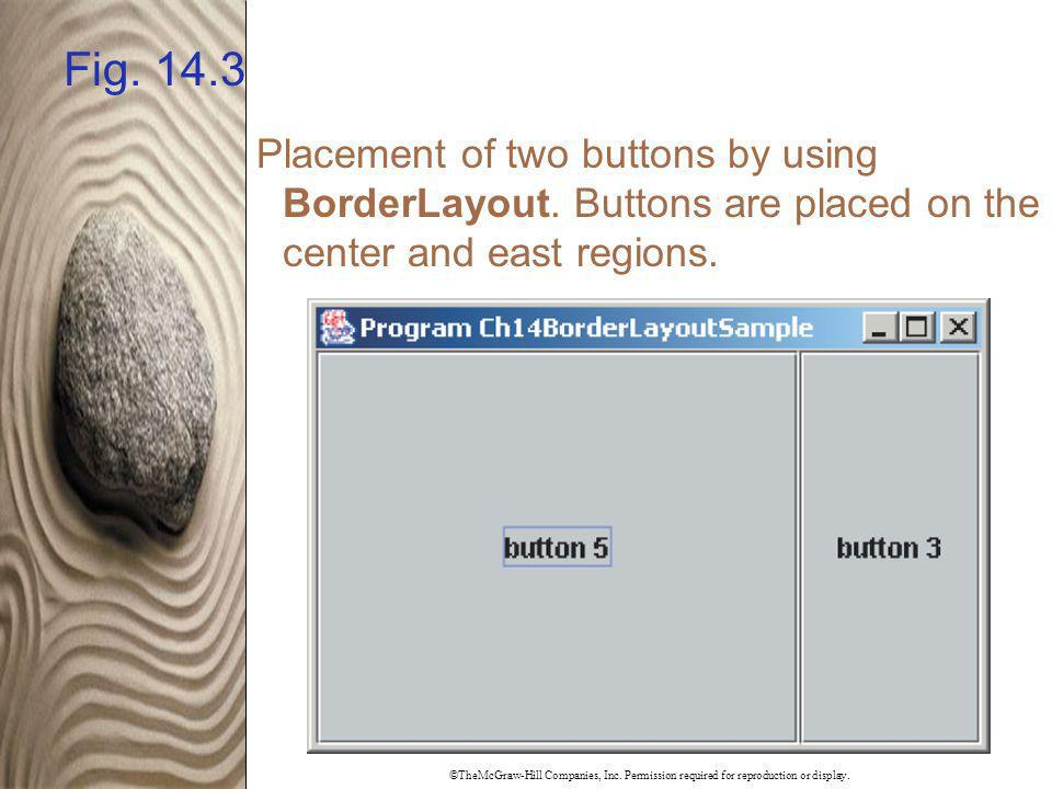 ©TheMcGraw-Hill Companies, Inc. Permission required for reproduction or display. Fig. 14.3 Placement of two buttons by using BorderLayout. Buttons are