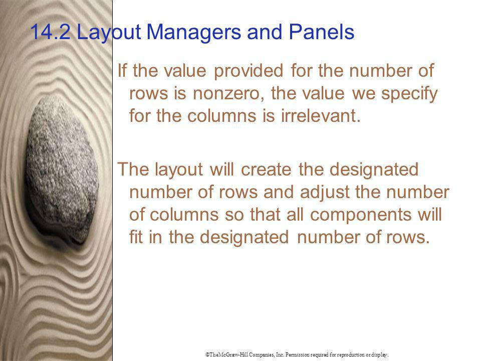 ©TheMcGraw-Hill Companies, Inc. Permission required for reproduction or display. 14.2 Layout Managers and Panels If the value provided for the number
