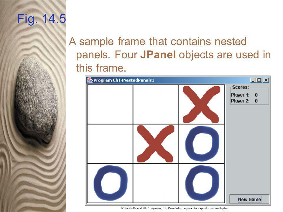 ©TheMcGraw-Hill Companies, Inc. Permission required for reproduction or display. Fig. 14.5 A sample frame that contains nested panels. Four JPanel obj