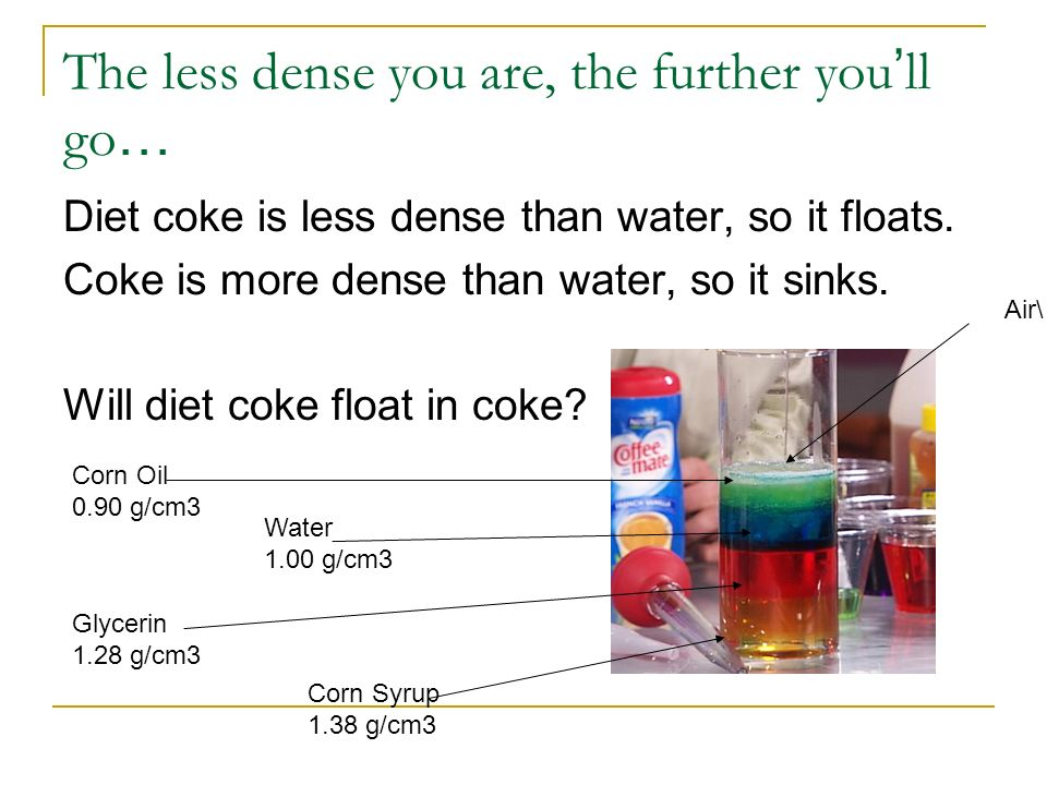 The less dense you are, the further you ll go … Diet coke is less dense than water, so it floats. Coke is more dense than water, so it sinks. Will die