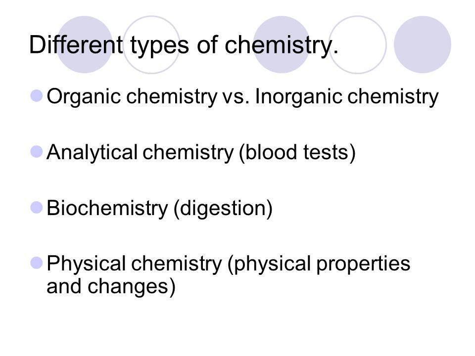 Different types of chemistry. Organic chemistry vs. Inorganic chemistry Analytical chemistry (blood tests) Biochemistry (digestion) Physical chemistry
