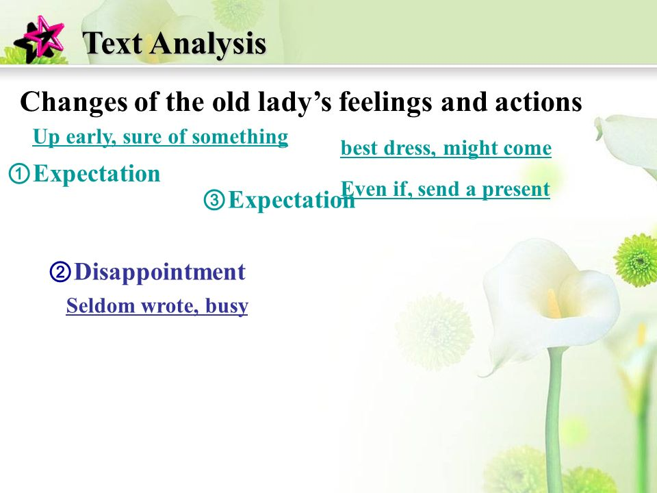 Expectation Disappointment Text Analysis Changes of the old ladys feelings and actions Up early, sure of something best dress, might come Even if, send a present Seldom wrote, busy