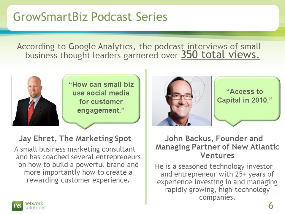 Confidential ©2009 Network Solutions, LLC Presentation Title, 07/31/ GrowSmartBiz Podcast Series According to Google Analytics, the podcast interviews of small business thought leaders garnered over 350 total views.