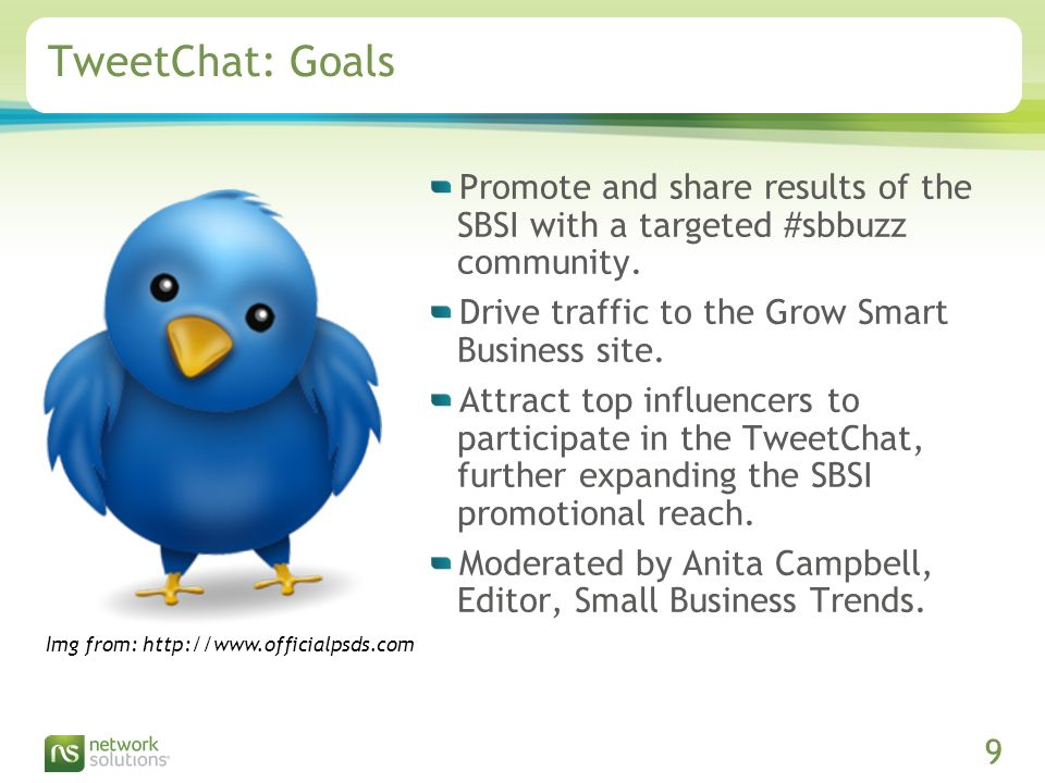 Confidential ©2009 Network Solutions, LLC Presentation Title, 07/31/2009 9 TweetChat: Goals Promote and share results of the SBSI with a targeted #sbbuzz community.