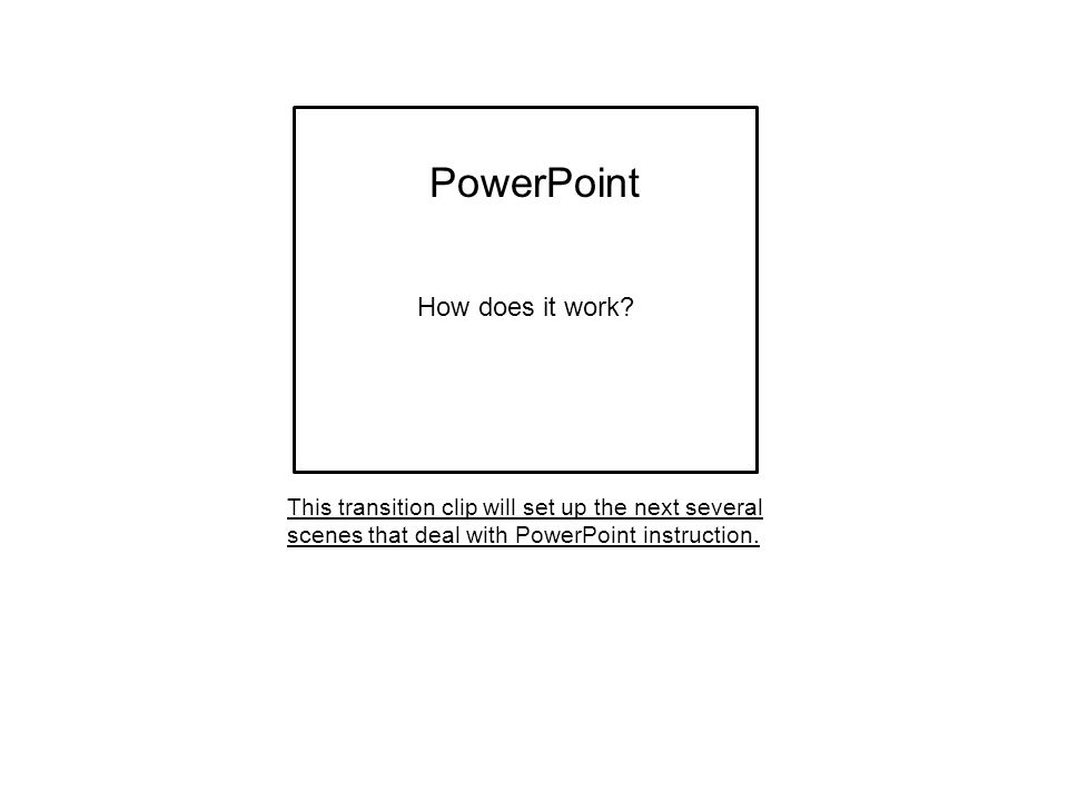 This transition clip will set up the next several scenes that deal with PowerPoint instruction. PowerPoint How does it work?