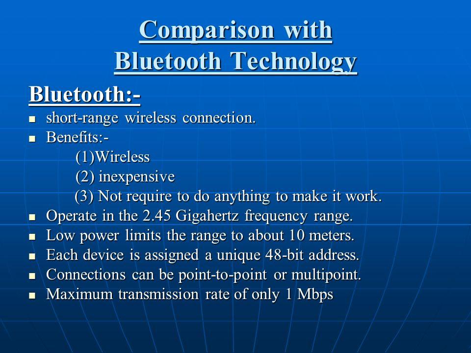 Comparison with Bluetooth Technology Bluetooth:- short-range wireless connection. short-range wireless connection. Benefits:- Benefits:- (1)Wireless (