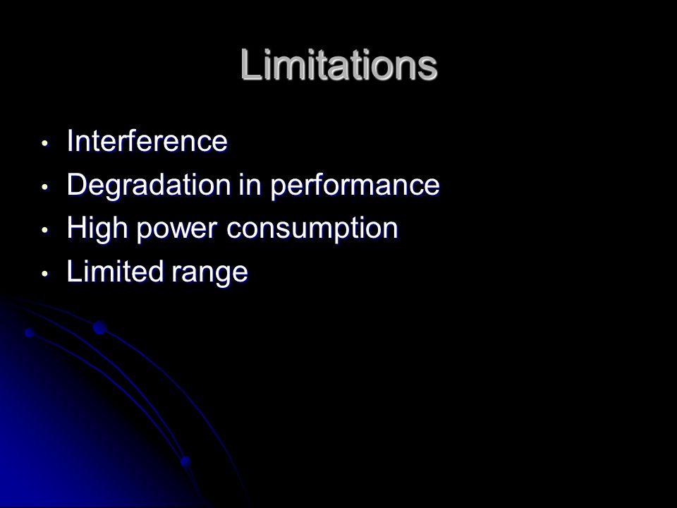 Limitations Interference Interference Degradation in performance Degradation in performance High power consumption High power consumption Limited rang