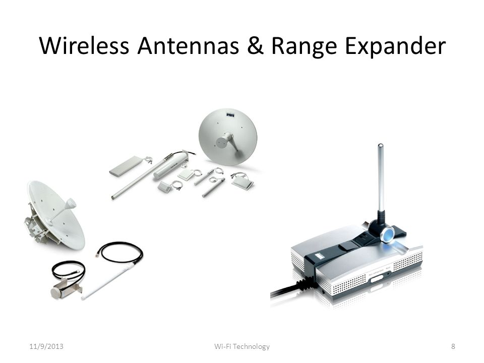 Wireless Antennas & Range Expander 11/9/20138Wi-Fi Technology