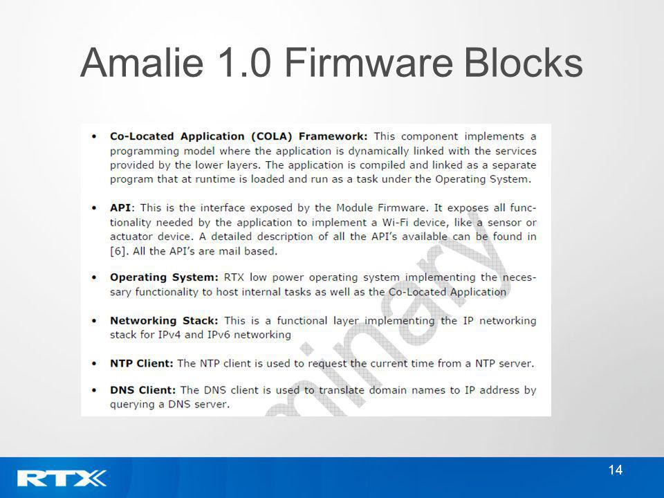 14 Amalie 1.0 Firmware Blocks